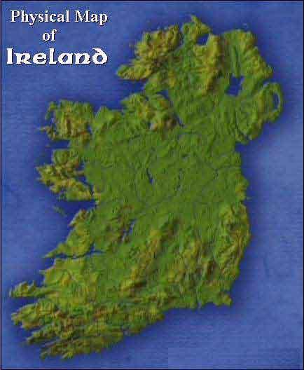 Physical Map Irelandjpg - Ireland physical map